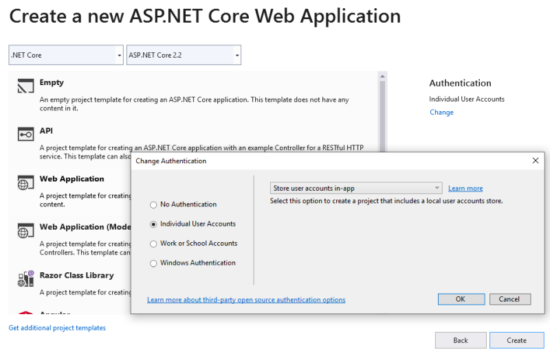 ASP.NET Identity new project
