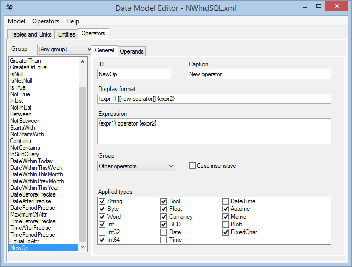Data Model Editor - add new operator