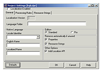 Localizer - project settings